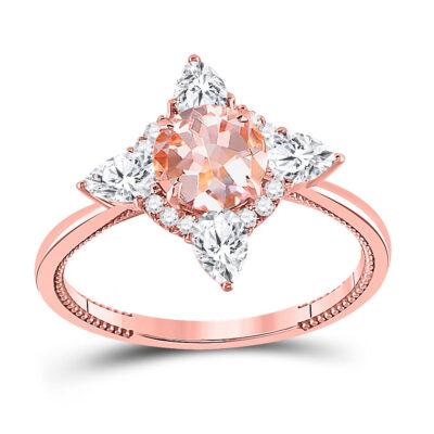 14kt Rose Gold Womens Round Morganite Halo Bridal Wedding Engagement Ring 1-3/4 Cttw