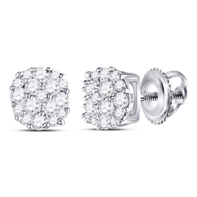 10kt White Gold Womens Round Diamond Fashion Cluster Earrings 1/5 Cttw