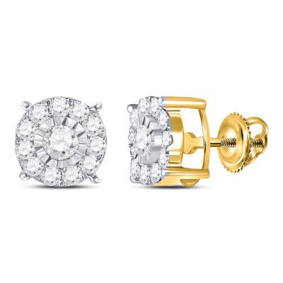 10kt Yellow Gold Womens Round Diamond Fashion Stud Earrings 5/8 Cttw