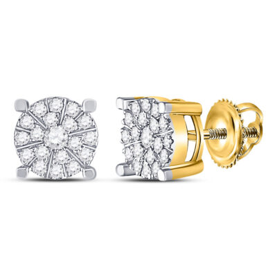 10kt Yellow Gold Womens Round Diamond Fashion Cluster Earrings 1/4 Cttw