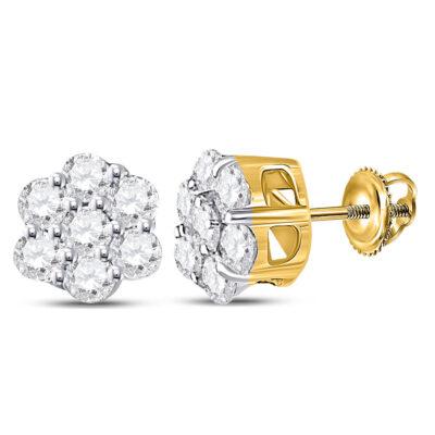 10kt Yellow Gold Womens Round Diamond Flower Cluster Earrings 1/3 Cttw