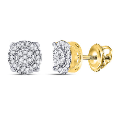 10kt Yellow Gold Womens Round Diamond Fashion Cluster Earrings 1/8 Cttw