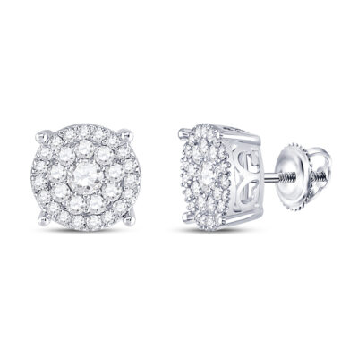 10kt White Gold Womens Round Diamond Fashion Cluster Earrings 1 Cttw