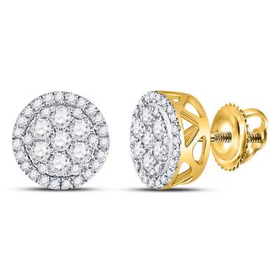 10kt Yellow Gold Womens Round Diamond Flower Cluster Earrings 1/2 Cttw
