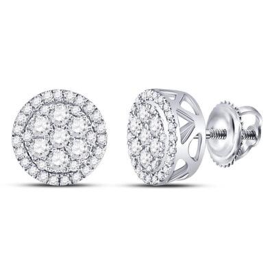 10kt White Gold Womens Round Diamond Flower Cluster Earrings 1/2 Cttw