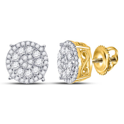 10kt Yellow Gold Womens Round Diamond Fashion Cluster Earrings 1/2 Cttw