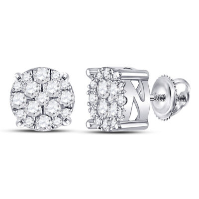 10kt White Gold Womens Round Diamond Fashion Cluster Earrings 1/4 Cttw