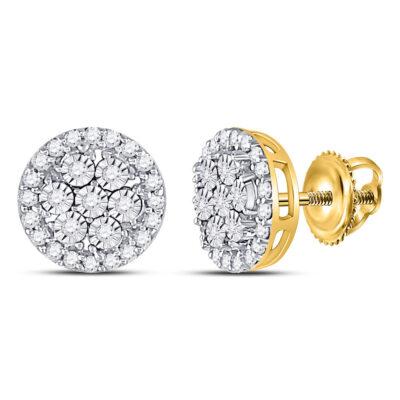 10kt Yellow Gold Womens Round Diamond Flower Cluster Earrings 3/8 Cttw