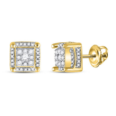 10kt Yellow Gold Mens Round Diamond Fashion Cluster Earrings 1/2 Cttw