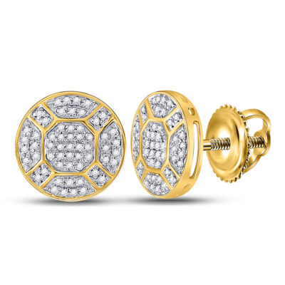 10kt Yellow Gold Mens Round Diamond Circle Cluster Earrings 1/3 Cttw