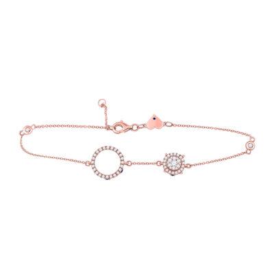 14kt Rose Gold Womens Round Diamond Cluster Circle Bracelet 3/4 Cttw