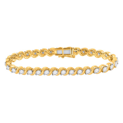 14kt Yellow Gold Womens Round Diamond Tennis Bracelet 5 Cttw