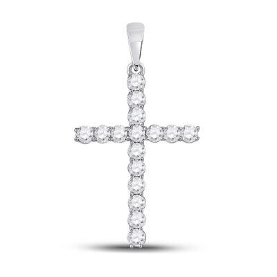 10kt White Gold Womens Round Diamond Cross Pendant 1/2 Cttw