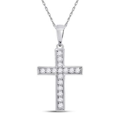 10kt White Gold Womens Round Diamond Cross Pendant 1/10 Cttw