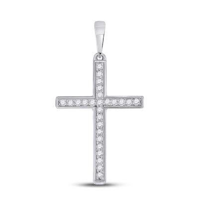 10kt White Gold Womens Round Diamond Cross Pendant 1/8 Cttw