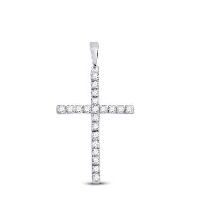 10kt White Gold Womens Round Diamond Cross Pendant 1/3 Cttw