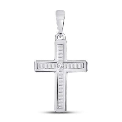 10kt White Gold Womens Princess Diamond Cross Pendant 1/10 Cttw