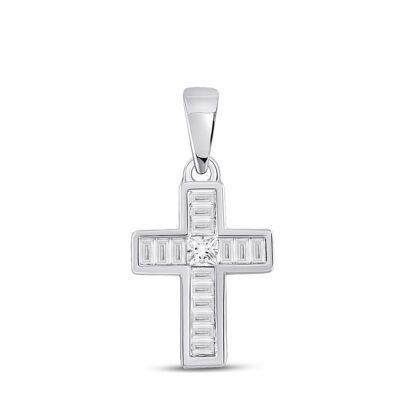 10kt White Gold Womens Princess Diamond Cross Pendant 1/3 Cttw