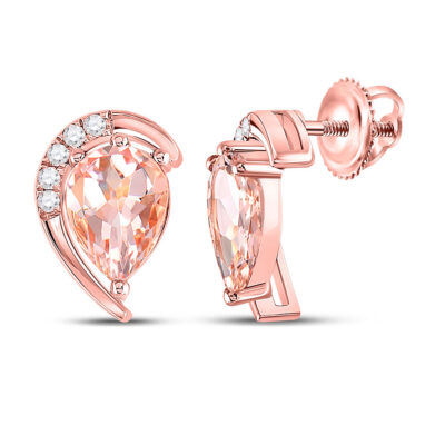 10kt Rose Gold Womens Pear Morganite Diamond Stud Earrings 1-7/8 Cttw