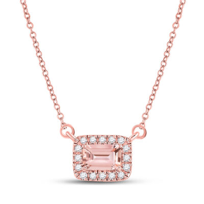 10kt Rose Gold Womens Emerald Morganite Solitaire Necklace 5/8 Cttw