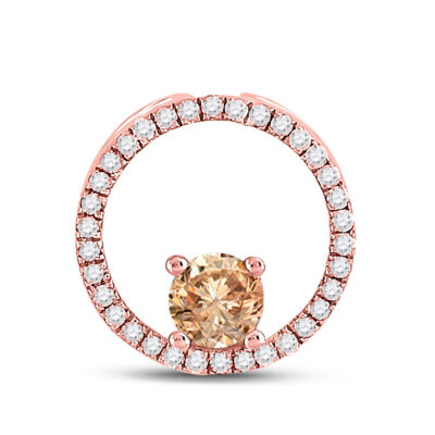 10kt Rose Gold Womens Round Morganite Diamond Circle Pendant 1/3 Cttw
