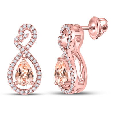 10kt Rose Gold Womens Pear Morganite Fashion Earrings 1 Cttw