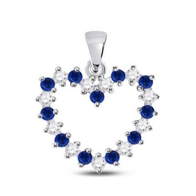 10kt White Gold Womens Round Blue Sapphire Diamond Heart Pendant 1/2 Cttw