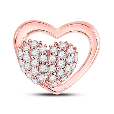 10kt Rose Gold Womens Round Diamond Heart Pendant 1/6 Cttw