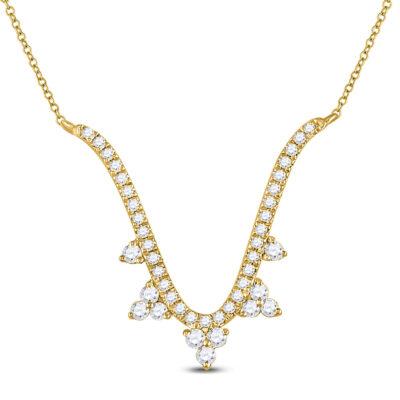 14kt Yellow Gold Womens Round Diamond Modern-V Fashion Necklace 1/4 Cttw