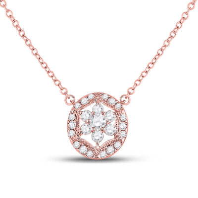 14kt Rose Gold Womens Round Diamond Floral Cluster Necklace 1/3 Cttw