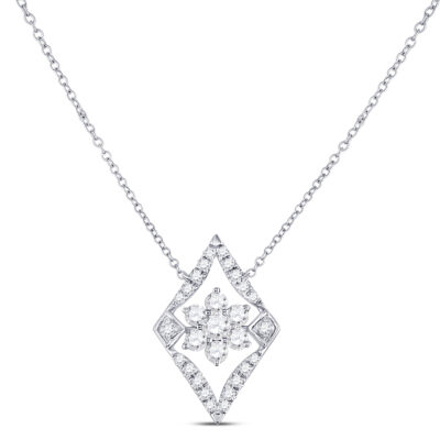14kt White Gold Womens Round Diamond Geometric Cluster Necklace 1/3 Cttw