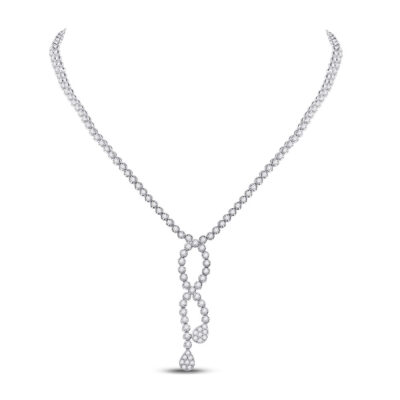18kt White Gold Womens Round Diamond Teardrop Dangle Cluster Necklace 7-7/8 Cttw