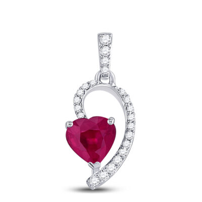 10kt White Gold Womens Heart Ruby Fashion Pendant 5/8 Cttw