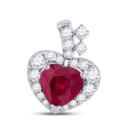 10kt White Gold Womens Heart Ruby Diamond Fashion Pendant 5/8 Cttw