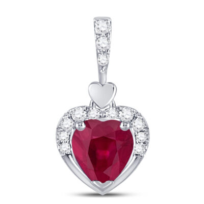 10kt White Gold Womens Heart Lab-Created Ruby Fashion Pendant 1/2 Cttw