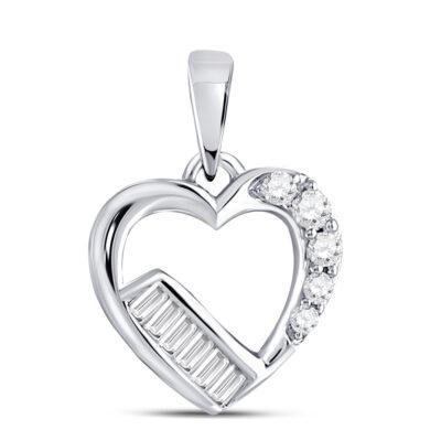10kt White Gold Womens Round Diamond Fashion Heart Pendant 1/8 Cttw