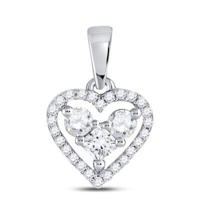 10kt White Gold Womens Princess Diamond Fashion Heart Pendant 1/3 Cttw
