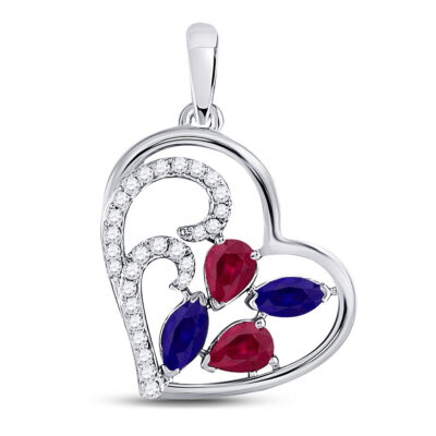 10kt White Gold Womens Pear Ruby Blue Sapphire Diamond Heart Pendant 1 Cttw