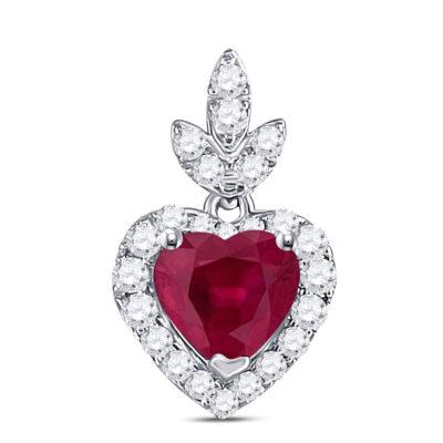10kt White Gold Womens Heart Ruby Diamond Fashion Pendant 3/4 Cttw