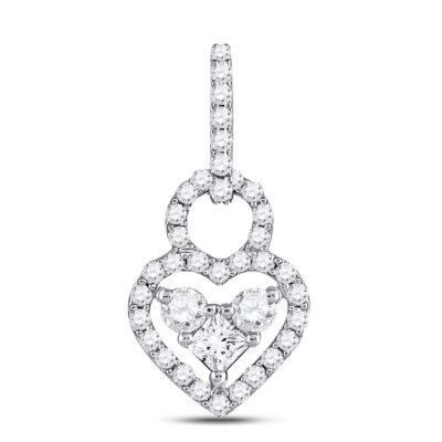 10kt White Gold Womens Round Diamond Fashion Heart Pendant 5/8 Cttw
