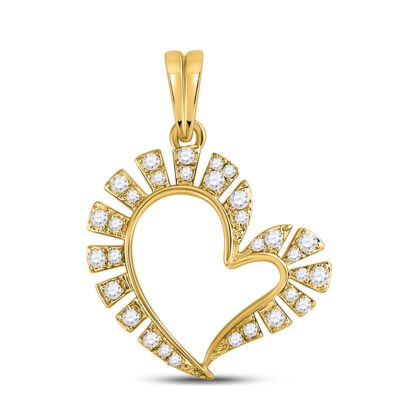 10kt Yellow Gold Womens Round Diamond Fashion Heart Pendant 1/5 Cttw