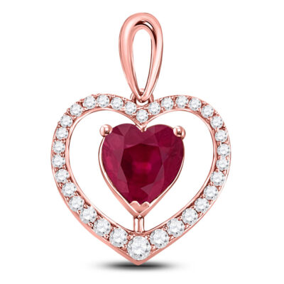 10kt Rose Gold Womens Heart Lab-Created Ruby Fashion Pendant 1-1/4 Cttw
