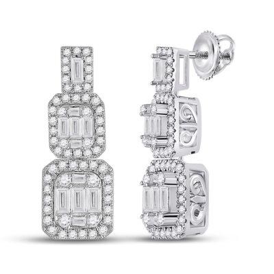 14kt White Gold Womens Baguette Diamond Dangle Earrings 1-1/3 Cttw