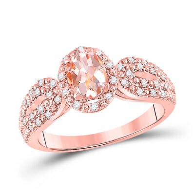 10kt Rose Gold Womens Oval Morganite Diamond-accent Solitaire Ring 1-1/5 Cttw