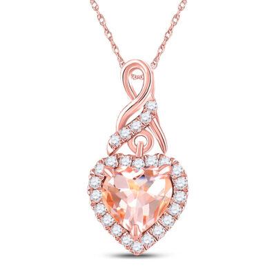 10kt Rose Gold Womens Heart Morganite Diamond Fashion Pendant 1 Cttw
