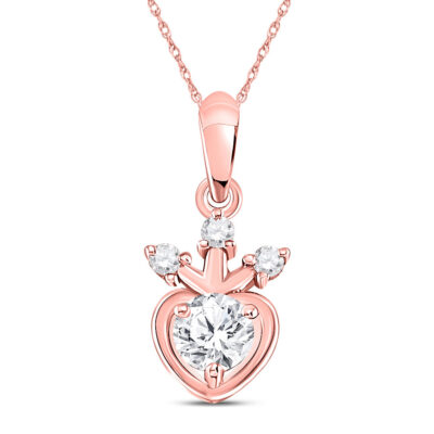 14kt Rose Gold Womens Round Diamond Heart Pendant 1/4 Cttw