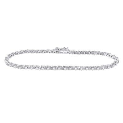 10kt White Gold Womens Round Diamond Tennis Bracelet 1 Cttw