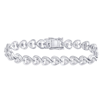 Sterling Silver Womens Round Diamond Heart Tennis Bracelet 1/2 Cttw