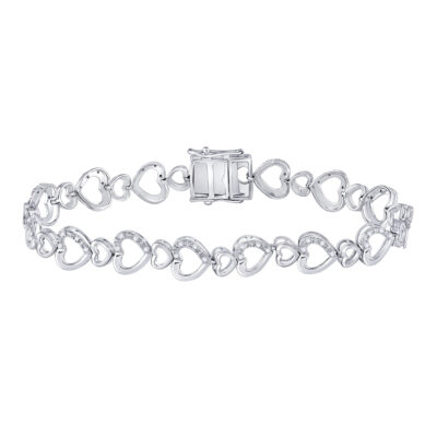 Sterling Silver Womens Round Diamond Heart Tennis Bracelet 1/4 Cttw