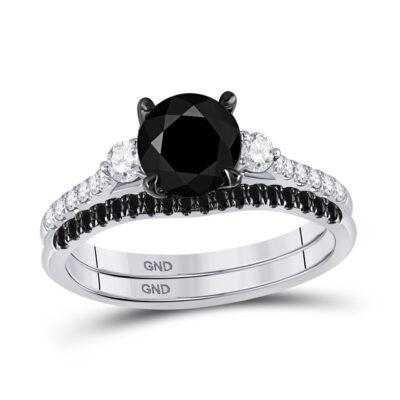14kt White Gold Womens Round Black Color Enhanced Diamond Bridal Wedding Ring Set 1-7/8 Cttw